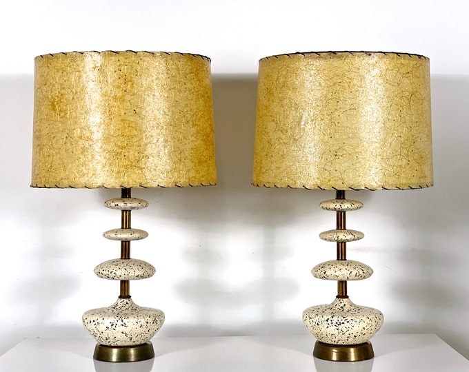 Pair Vintage Mid Century Ceramic & Brass Table Lamps 1950's