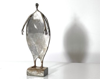 Signed Vintage Modernist Abstract Steel Sculpture 1980s