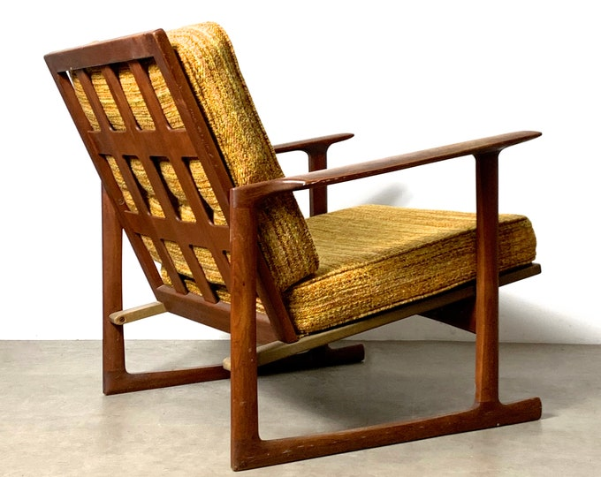 Ib Kofod Larsen Selig Lattice Back Lounge Chair 1950's