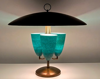 Large Modernist Brass Canopy Fiberglass Cone Table Lamp 1950s