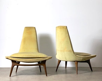 Pair Karpen of California High Back Lounge Chairs 1960's