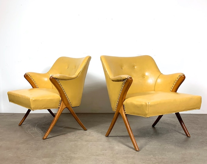 Pair of Sculptural Lounge Chairs by Karpen 1950's