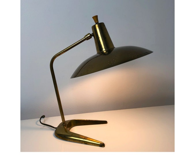 Perforated Brass Desk Lamp attributed to Gerald Thurston, 1950's