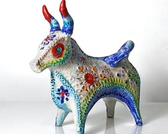 Rare Alvino Bagni Bitossi Pottery Confetti Jewel Glaze Bull Sculpture 1960s