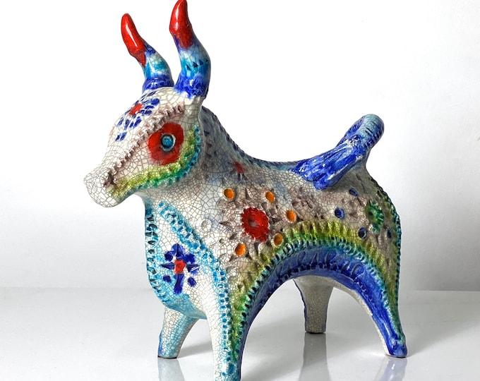 Rare Alvino Bagni Bitossi Pottery Confetti Glaze Bull Sculpture 1960s