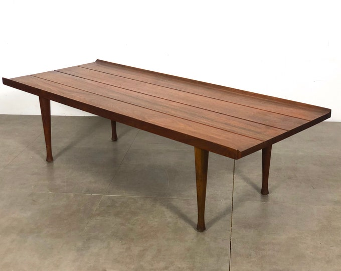 Vintage Modernist Walnut Coffee Table w/ Hourglass Legs 1960's