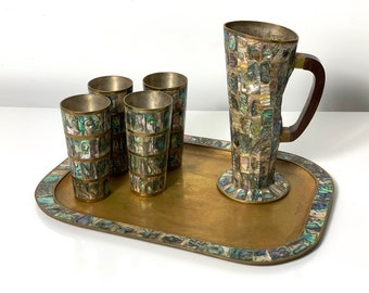 Mid Century Taxco Brass & Abalone Serving Set 1970's