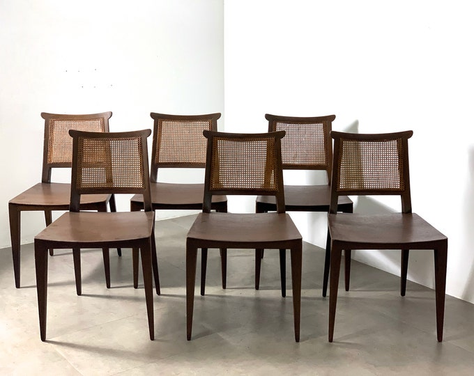 6 Edward Wormley for Dunbar Cane Dining Chairs 1950's