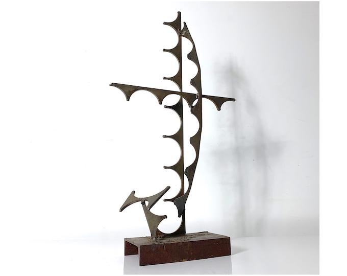 Abstract Brutalist Welded Steel Sculpture Signed JB 1973