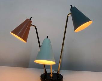 Mid Century Modern Three Arm Cone Desk Lamp 1950's