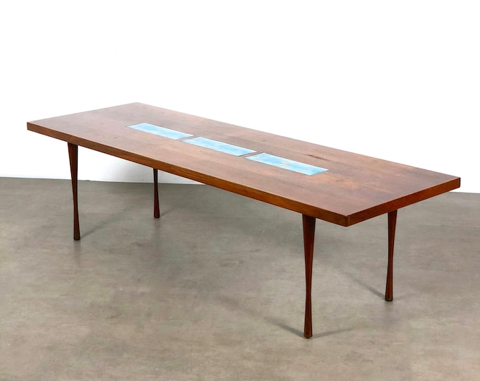 Vintage Walnut & Enamel Rectangular Coffee Table 1960's