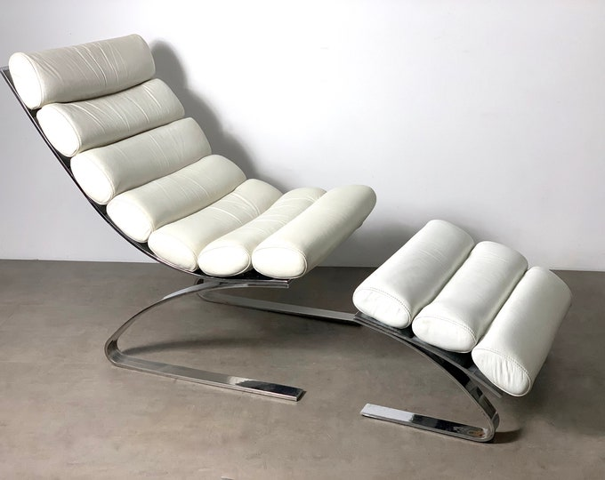 DIA Chrome & Leather Cantilevered Lounge Chair and Ottoman 1970's