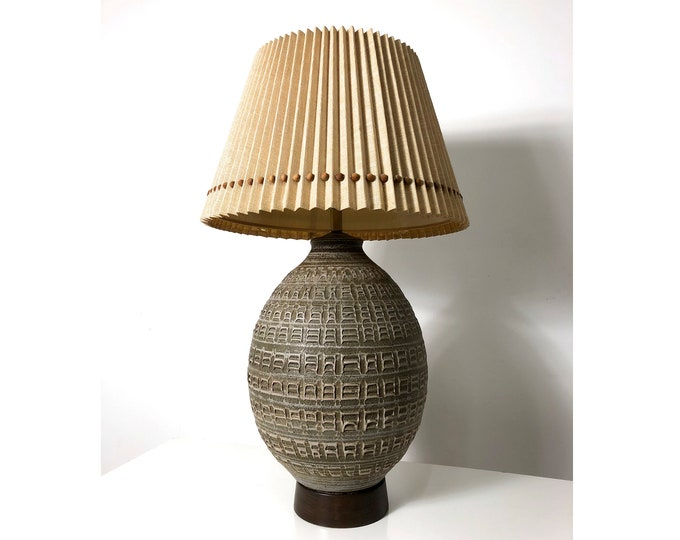 Large Studio Pottery Table Lamp & Shade, 1960's
