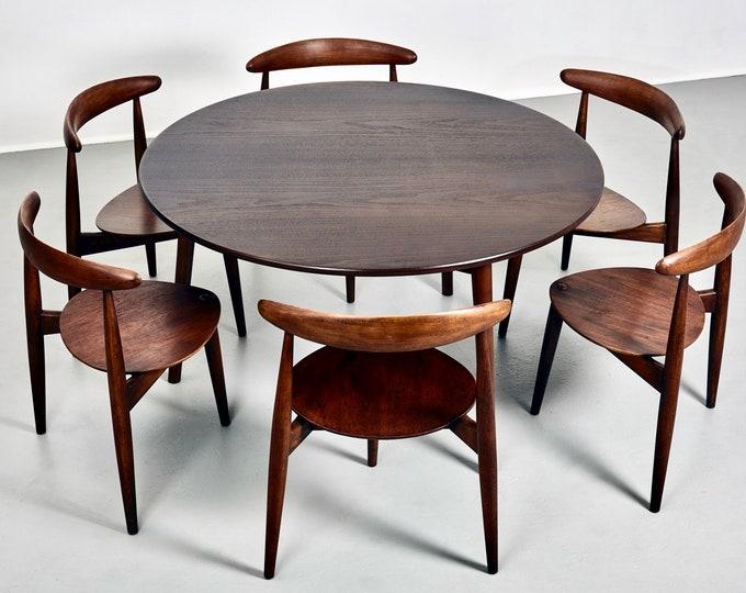 6 Chair Hans Wegner Heart Dining Set for Fritz Hansen 1950s