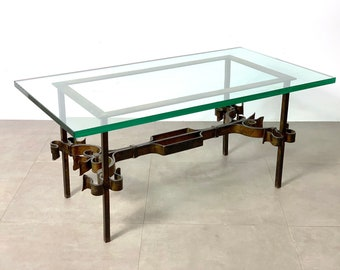 Vintage Brutalist Spanish Gilded Iron Glass Coffee Table 1950's