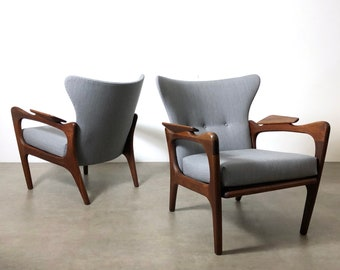 Pair Adrian Pearsall for Craft Associates Wingback Lounge Chairs 1960's