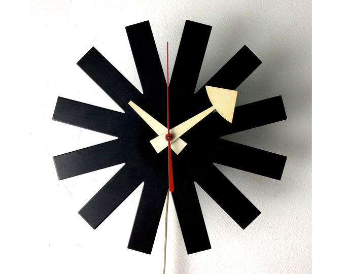 Vintage George Nelson Howard Miller Black Asterisk Clock 1950's