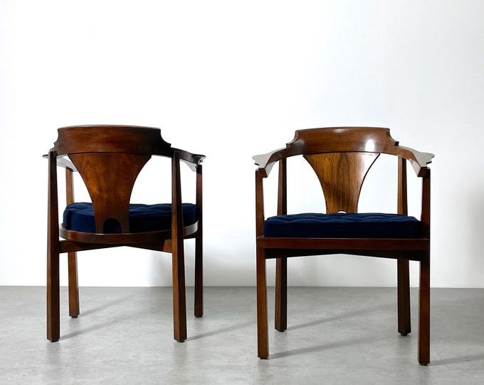 Pair Edward Wormley Dunbar Rosewood Horseshoe Chairs 1960s