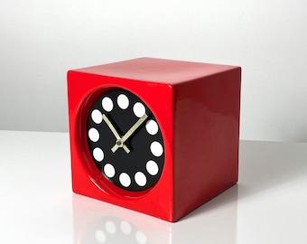 Charles Cheney Ceramic Cube Modernist Clock 1960s