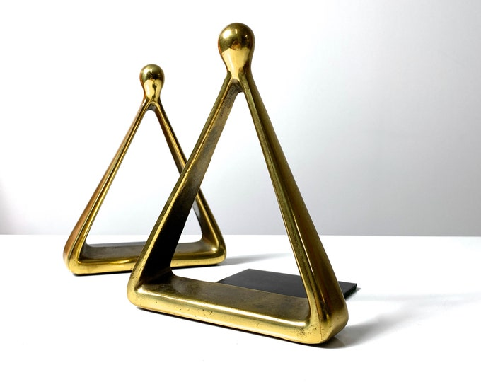 Vintage Ben Seibel Triangle Brass Bookends 1950s