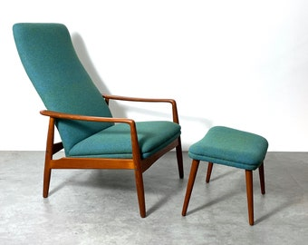 Vintage Soren Ladefoged Teak Reclining Lounge Chair and Ottoman 1960s