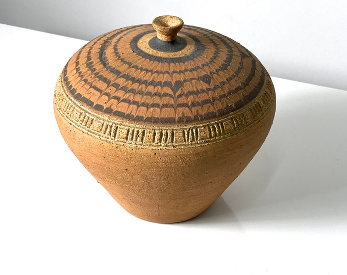 Signed Studio Pottery Weed Pot Vase 1985