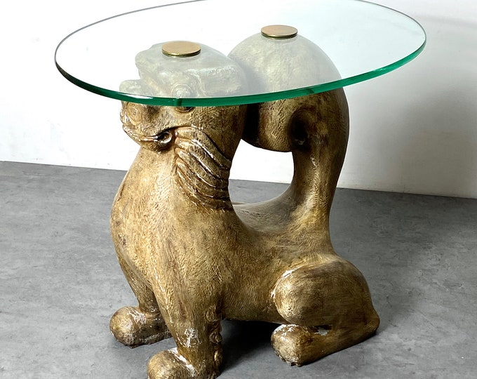 Rare Sarreid Foo Dog Glass Side Table 1960s