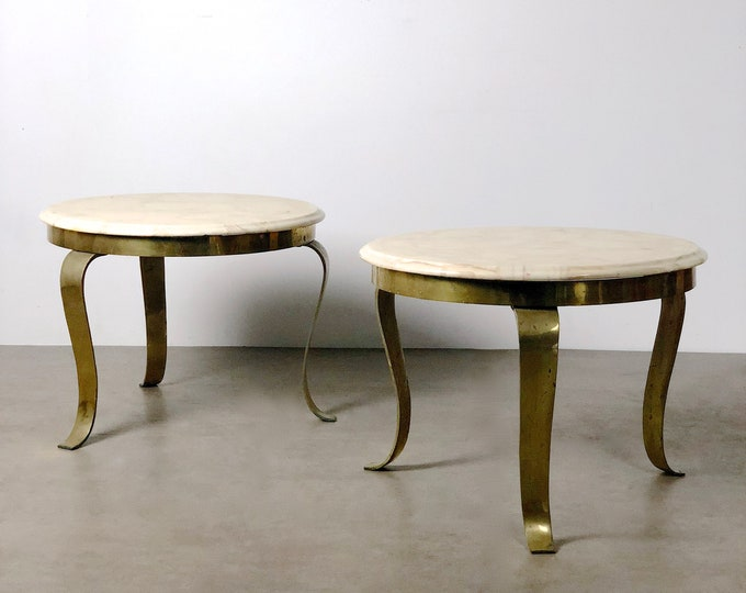 Pair Muller's Onyx & Brass End Tables, 1960's