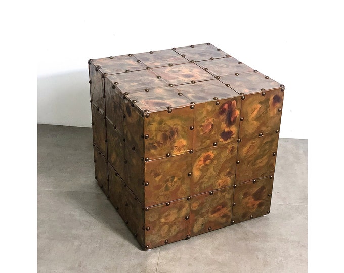 Vintage Copper Patchwork Cube Table 1970's