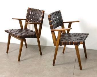 PAIR Mid Century Modern Leather Webbed Chairs, 1940's/1950's
