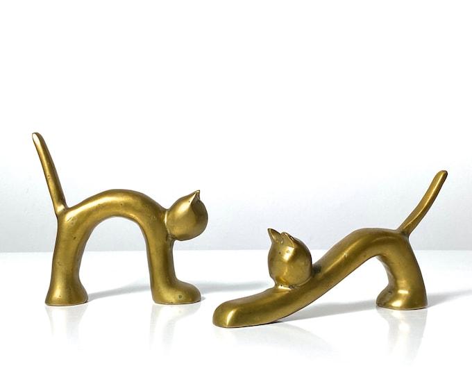 Pair Modernist Brass Cat Figures 1960s