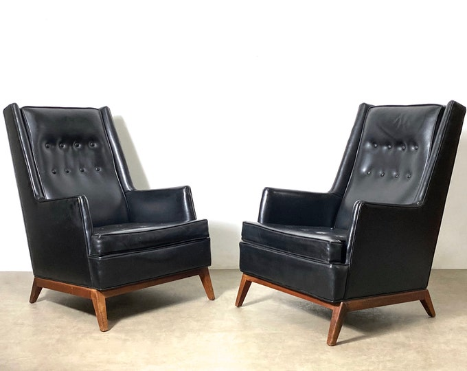 Pair Vintage Robsjohn Gibbings Widdicomb Tall Lounge Chairs 1950s