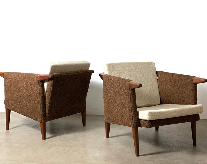 Rare Pair of Teak Lounge Chairs by Bent Moller Jepson 1950's
