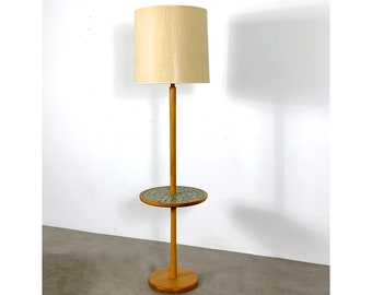 Vintage Martz Tile Floor Lamp w/ Table 1960's