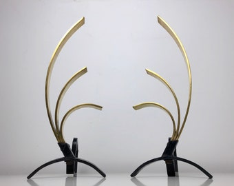 Pair Donald Deskey Style Brass Andirons, 1950's