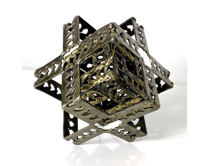 Vintage Brutalist Steel and Brass Cube Sculpture 1970s