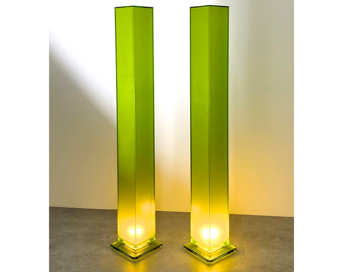 6 Ft Pair of Vintage Green Lucite Column Floor Lamps by Shlomi Haziza