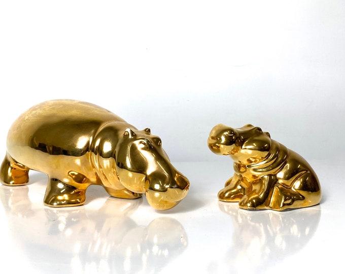 Pair of Jaru Gold Ceramic Hippo Sculptures 1970s