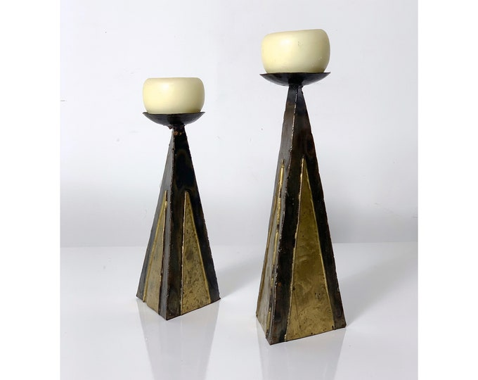 Pair Vintage Brutalist Metal Candle Holders 1970's