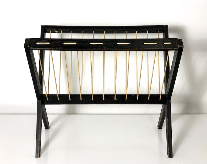 1950's Modernist Black Wood & String Magazine Holder