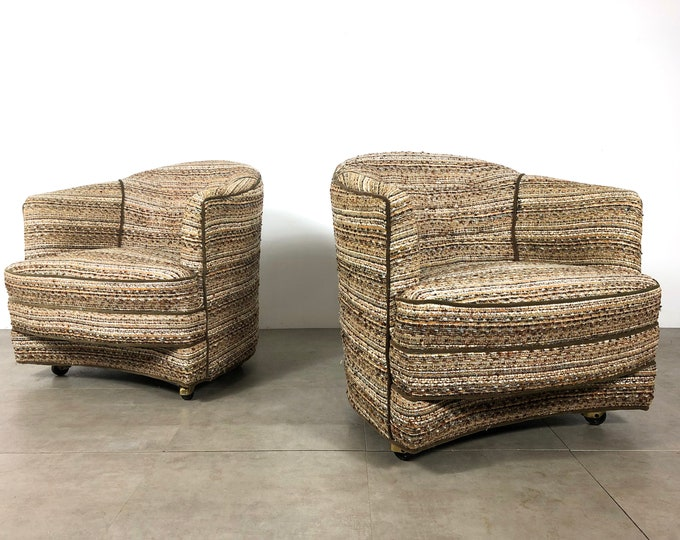 Pair of Unique Curved Barrel Back Lounge Chairs, 1960's