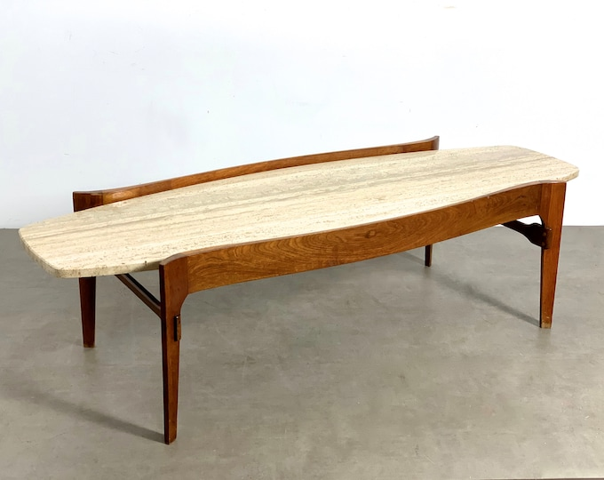 Bertha Schaefer Style Walnut & Travertine Coffee Table 1960's