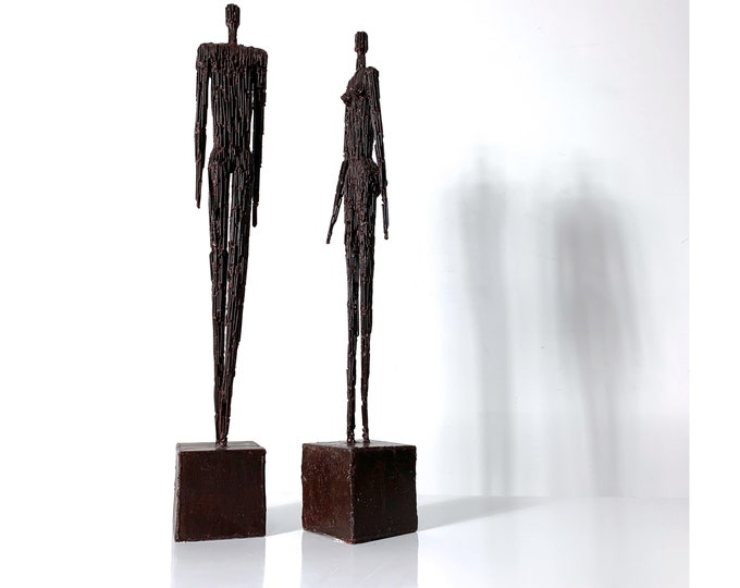 Pair Vintage Abstract Tall Brutalist Figure Sculptures 1970's