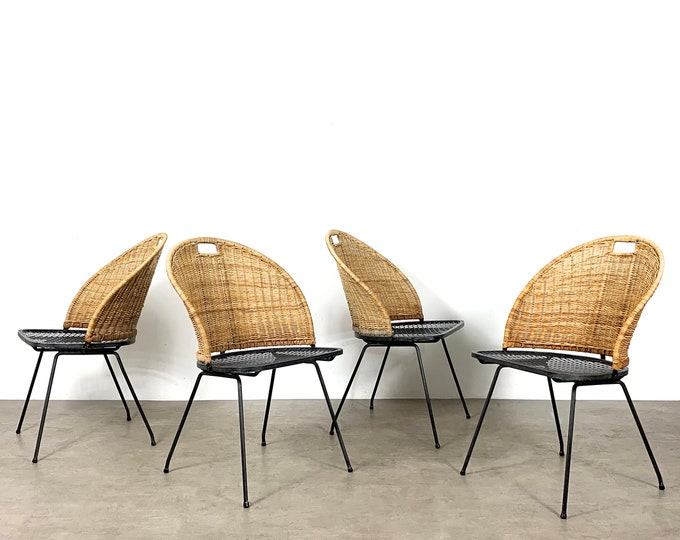 Set of 4 Wicker & Iron Chairs by Maurizio Tempestini 1950's