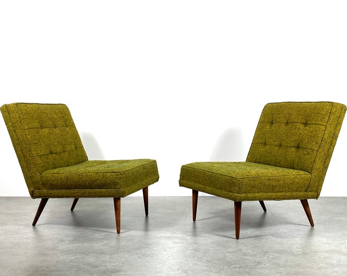 Pair Milo Baughman Thayer Coggin Slipper Lounge Chairs 1960s