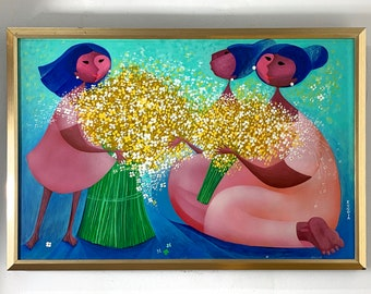 Alizandro Valencia Signed Original Oil Painting Mexico 1980's