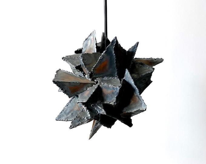 Vintage Abstract Brutalist Hanging Pendant Sculpture 1970s