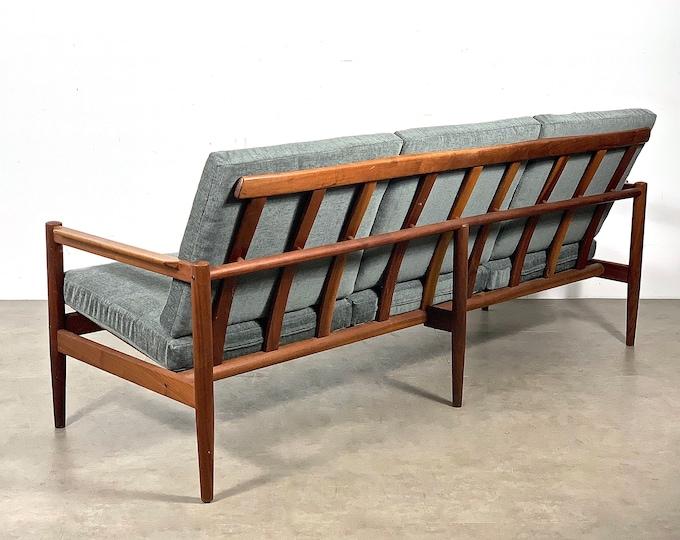 Borge Jensen Teak Frame Three Seat Sofa In Gray 1950's