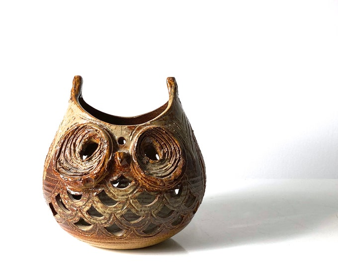 Signed Studio Pottery Owl Bowl or Lantern 1970s