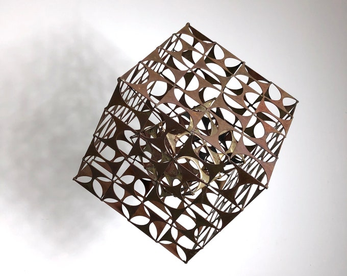 "15"" Abstract Brutalist Cube Sculpture 1960's"